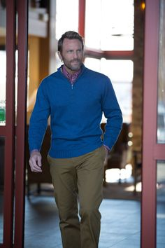 Our Cotton 1/4 Zip Sweater is great with a pair of our Twill Khakis