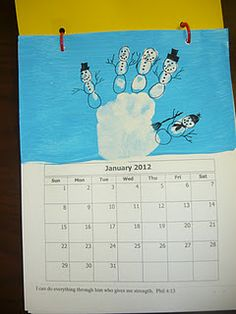 Handprint calendar- cute holiday gift for parents