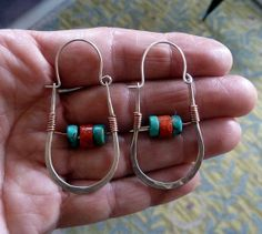 Tribal Rustic Hammered Sterling Silver Hoops with Turquoise & Coral