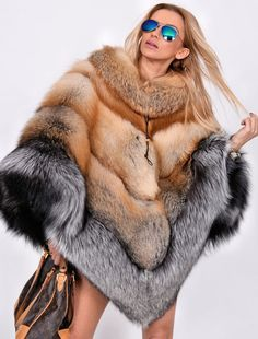 NEW MULTI COLOR SAGA FOX FUR PONCHO CLAS OF SABLE MINK CHINCHILLA COAT FIRE GOLD #LAFURIA #Ponchos