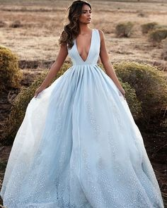 Light blue beautiful gown.