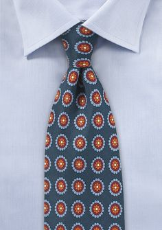 Medallion Print Tie in Dark Blue and Burgundy