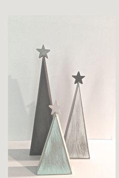 Rustic Christmas, wood Christmas trees, tree shelf sitters, primitive trees, Christmas decor, gray and aqua, modern decor, aqua tree, by TheWoodenOwl on Etsy https://www.etsy.com/listing/250059428/rustic-christmas-wood-christmas-trees #modern_decor_gray
