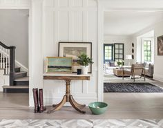 Dutch Colonial Home Tour. You've got to see this home that was given a top-to-bottom facelift Dutch Colonial Homes, Foyer Decorating, Living Room Interior, Home Staging, Old Houses, House Tours, Small Spaces, Family Room, Living Spaces