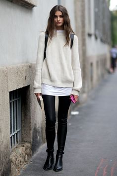 How to Wear an Oversized Sweater during Winter ... →  Fashion