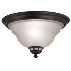 Shop Project Source Fallsbrook 13-in W Dark Oil-Rubbed Bronze Ceiling Flush Mount at Lowes.com