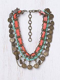 Orange/Aqua necklace love