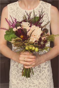 fall purple and green wedding bouquet #fallbouquet #fallwedding http://www.weddingchicks.com/2013/11/26/fruitful-fall-wedding-ideas/