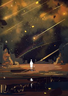 And all the stars came crashing down Aesthetic Art, Aesthetic Anime, Fantasy Landscape, Fantasy Art, Stock Design, Digital Foto, Scenery Wallpaper, Anime Scenery, Illustrations And Posters