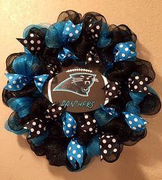 Carolina Panthers wreath Carolina Panthers decor by WandNDesigns
