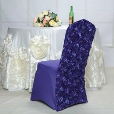 Folding Chair Covers, Banquet Chair Covers, Dining Chair Covers, Dining Chairs, Dining Room, Rosette Tablecloth, Purple Wedding Decorations, Quinceanera Decorations, Wedding Centerpieces