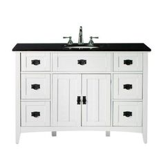 Artisan 48 in. W x 20-1/2 in. D Six-Drawer Bath Vanity in White with Granite Vanity Top in Black $749