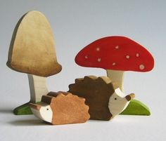 Wooden Hedgehogs and Toadstool Toys- Waldorf Toy- Nature Table Autumn- Forest animal.  via Etsy.