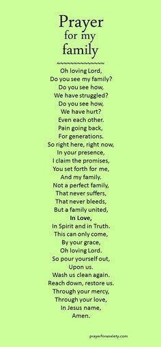 A prayer you can pray for your family to be united in love.
