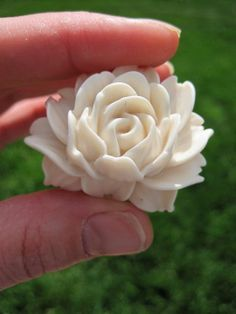 Totally going in the bathroom ... tehe Drawer Knobs Ivory Rose flower for dresser cabinets by DaRosa, $44.00