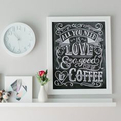 All You Need Is Love & Coffee - Print for sale at the lilyandval.com website shop