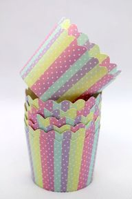 50 Rainbow With White Dot Striped Greaseproof Paper Baking Cups,Cup Cake Cups,Muffin Cups,Candy Cup,Nut Icecream Treat Dessert Portion Cups, $7.25