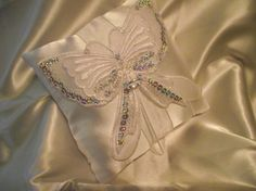 White satin ring bearer pillow with embellished by EulasHeart, $10.00
