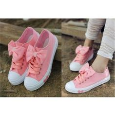 Big Bow Flat Canvas Sneakers Women's Shoes $28.90