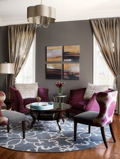Beautiful Charming Purple Velvet Armchair: Glamorous Transitional Living Room Purple Velvet Armchair With Grey Wall Golden Curtain Blue Floral Rug Grey Chandelier Round Glossy Table And Laminate Flooring ~ popustnik.com Chair Inspiration