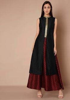 High Neck Silk Tunic - Black #Fashion #FabAlley #Tunic #WeddingWear #Marriage #Indya #Trending