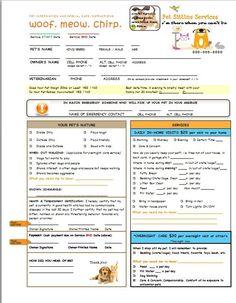 pet care instructions form