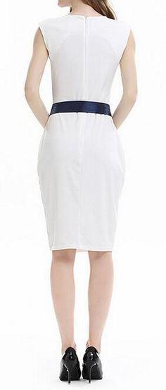 0b9bc33f652 Fensajomon Women Flower Print Bowknot Casual Sleeveless Flare Wear to Work  Midi Pencil Dress White S