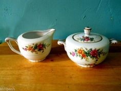 Ocuppied Japan! Sugar Bowl with Lid & Creamer in the Merivale pattern by Narumi  #Narumi
