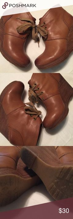 Lucky Brand ankle boots Lucky Brand ankle boots size 6.5 M leather wedge heels Norice lace up booties..  very good pre owned condition, cleaned and recondition Lucky Brand Shoes Ankle Boots & Booties