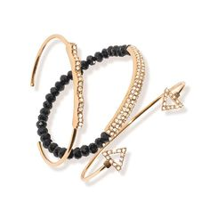 One stretch bracelet and two cuffs with flexible openings. Stretch bracelet: shiny goldtone metal with black and clear crystals. Cuffs: shiny goldtone metal with clear crystals. Regularly $20.00, shop Avon Jewelry online at http://eseagren.avonrepresentative.com