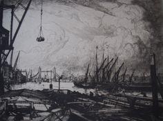 Etching by William Washington, 'Greenwich, London' Greenwich London, Washington, British, Painting, Art, Art Background, Painting Art, Kunst, Paintings