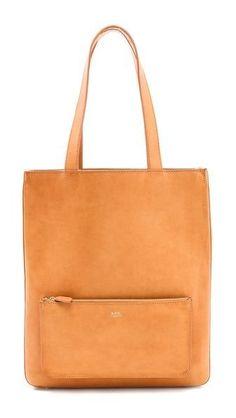 Tan A.P.C. CABAS Bag  Minimalist woman tote bag | Minimalist handbag | Minimalist purse | Capsule wardrobe | Slow fashion | Simple style