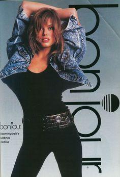 Eighties Fashion: acid faded jean jacket and catsuit (model: Renée Simonsen). Vintage. Ad. Bonjour jeans.
