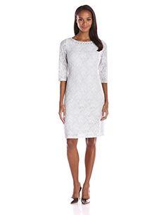 e85c6d3956f0 Jessica Howard Women's 3/4 Sleeve Beaded Neck Shift Dress, Gray, 14 -
