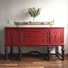 Buffet Painted in Holiday Red is part of furniture Restoration White - Loving this buffet restyling y Katie & Co Furniture Restorations! Painted in Holiday Red Milk Paint Red Painted Furniture, Repainting Furniture, Painted Buffet, Painting Wooden Furniture, Refurbished Furniture, Colorful Furniture, Repurposed Furniture, Cheap Furniture, Kitchen Furniture