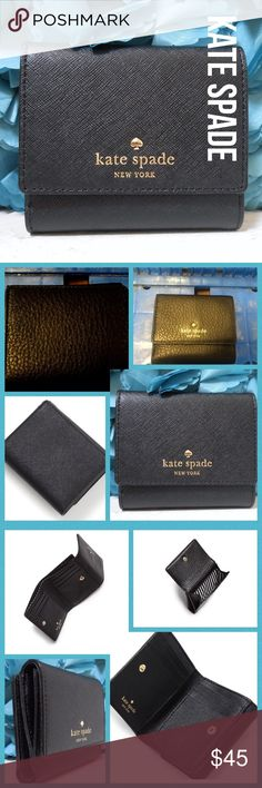 Kate Spade New York Cobble Hill Tavy Wallet NWT Kate Spade New York Cobble Hill Tavy Wallet Black NWT PRODUCT DETAILSWeb ID 1688615 Polished and petite, kate spade new york's snap-front wallet is sized to fit within almost any carryall.A saffiano leather Kate Spade New York wallet with a polished logo stud at the snap front pocket. Bifold design with 6 card slots and lined cash pocket. Leather: Cowhide. Snap closure; lined Two interior slip pockets, interior bill slot, six interior card…