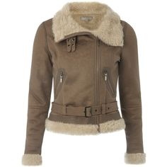 Taupe aviator jacket ($47) ❤ liked on Polyvore featuring outerwear, jackets, coats, coats & jackets, sale+women, women, women's clothing, women's tops, brown aviator jacket and brown jacket