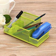 DZT1968 1PC Metal Mesh Home Office Pen Pencils Holder Desk Stationery Storage Organizer Box 787 x 394 x 374 green