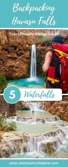Your Ultimate Guide to Hiking Havasu Falls Trail in Arizona   These beautiful blue waters of Havasupai should be on the top of your bucket list. In our post we go through everything you need to know about visiting Havasu Falls from trail details, permits, photography, what to pack, and more. This 25 mile long trail and it's 5 amazing waterfalls, Fifty Foot Falls, Navajo Falls, Havasu Falls, Mooney Falls, and Beaver Falls, will not leave you disappointed.   shedreamsofalpine.com #hikearizona