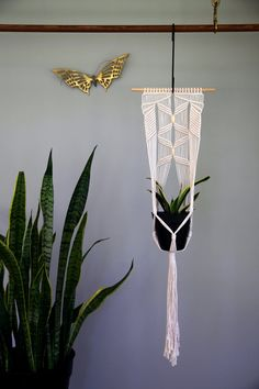 """Macrame Plant Hanger - 42"""" Knotted Natural White Cotton Rope - Indoor Hanging Planter on Wooden Dowel w/ Beads"""