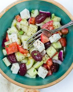 Tomato, cucumber, onions, olives, feta...the REAL Greek salad :)