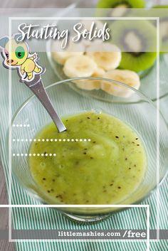 Little Mashies Banana & Kiwi Puree - Free baby food guide by Little Mashies littlemashies.com/free