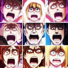 Attack on junior high, Eren, Armin, Connie, Jean, Reiner, Bertholdt, Sasha, Ymir, Historia