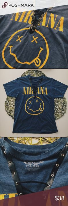 Nirvana vintage lace up t-shirt Machine washable, take gentle care and let air dry. LF *inspired* and HOMEMADE! LF Tops Tees - Short Sleeve