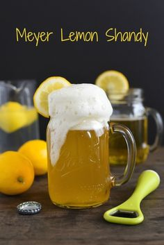 Meyer Lemon Shandy - Homemade Meyer lemonade + wheat beer = the perfect drink to go with a salty snack!   foxeslovelemons.com