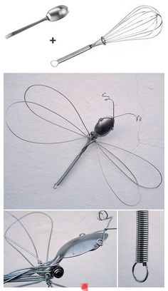 Dragonfly wire sculpture from a whisk and spoon