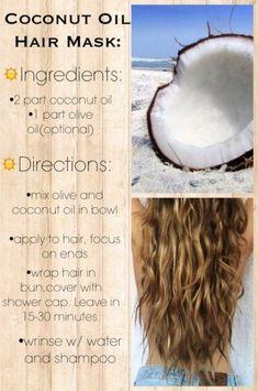 Hair mask coconut oil overnight 21 ideas How you can do natural hair care Coconut Oil Hair Treatment, Coconut Oil Hair Mask, Hair Care Oil, Hair Oil, Natural Hair Conditioner, Diy Masque, Diy Hair Mask, Hair Masks, Hair Mask For Damaged Hair