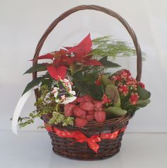 29CM CHRISTMAS RIBBON BASKET (X530)