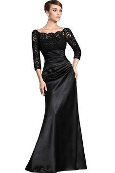 Amazon.com: eDressit Womens New Stylish Black Lace Sleeves Mother of the Bride Dress 26121800 ~  Lace Top and Sleeves, Beaded Neckline and Sleeve Openings. Dry Clean Only.  Invisible zipper.  Custom-made & Color-change Available