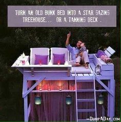 Star gazing or tanning deck made out of old bunk beds.